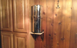 "We mounted some small shelf brackets and piece of 3/4"" thick wood to the wall in our kitchen."